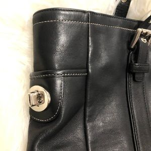 Coach Bags - Coach Black Leather Lunch Tote Bag